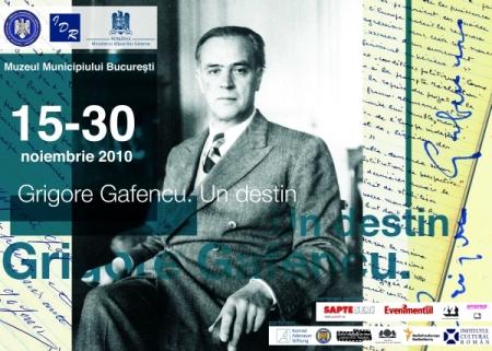 """Afişul expoziţiei """"Grigore Gafencu. Un destin"""" de la muzeul Municipiului Bucureşti"""